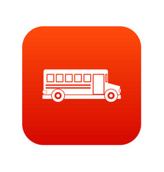 school bus icon digital red vector image