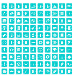 100 lunch icons set grunge blue vector image