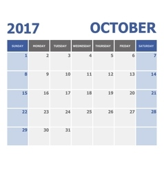 2017 october calendar week starts on sunday vector