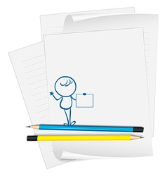 A paper with a sketch of a person holding an empty vector image vector image