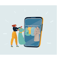 A woman using smartphone for online shopping vector
