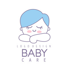 Bacare logo design emblem with cute sleeping vector