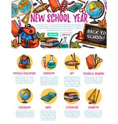 Back to school study sketch landing page vector