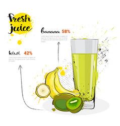 Banana kiwi mix cocktail of fresh juice hand drawn vector