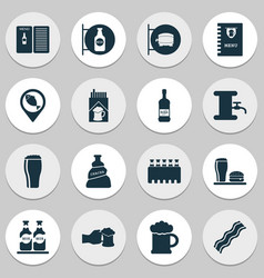 Beverages icons set with chacha beer sign pub vector