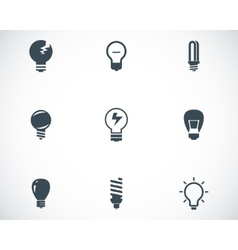black bulbs icons set vector image