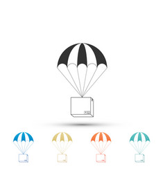 box flying on parachute icon on white background vector image