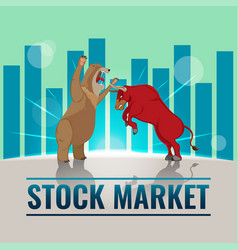 bull bear business stock market background vector image