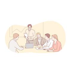 business meeting presentation training teamwork vector image