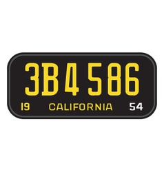 California 1954 license plate vector