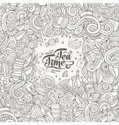 Cartoon cute doodles hand drawn tea frame design vector