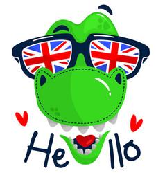 Cartoon t-rex head wearing sunglasses vector