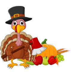 Cartoon turkey holding axe with harvest cornucopia vector
