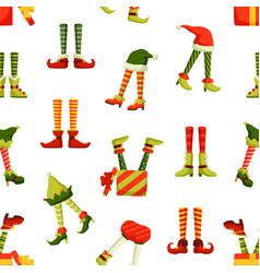 Christmas elf legs flat seamless pattern vector