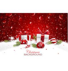 christmas gift with balls vector image