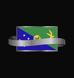 Christmas island flag ribbon banner design vector