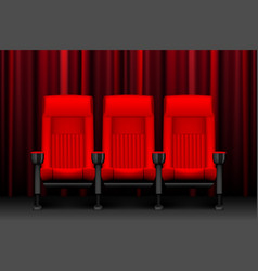 cinema show design with red empty seats poster vector image