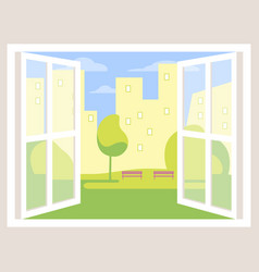 city view open window background vector image