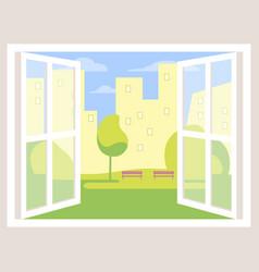 City view open window background vector