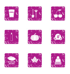 Cold snap icons set grunge style vector