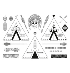 collection native american tribal stylized vector image