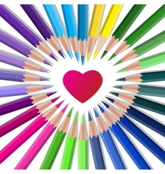 Color crayons with red heart vector image
