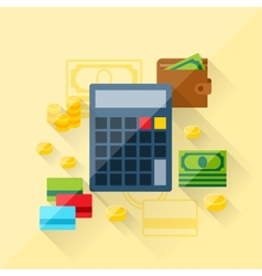Concept loan calculator in flat design style vector