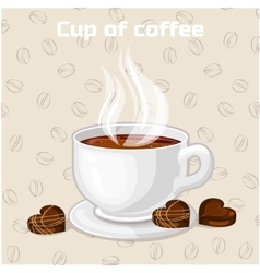 Cup of coffee and sweets icon vector