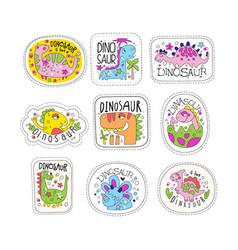 Cute dinosaur patches set trendy colorful unicorn vector