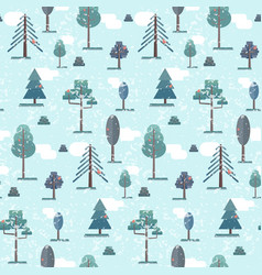 cute flat blue winter forest trees pattern vector image