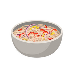 delicious soba noodles with onion and pepper vector image