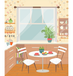 Dining room interior kitchen with table and chairs vector