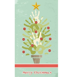 Diversity christmas tree hands vector