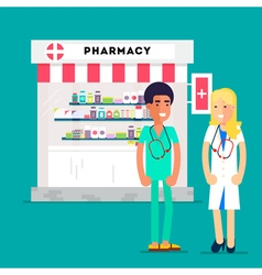 Doctors Pharmacy Characters vector image