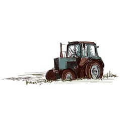 doodle tractor vector image