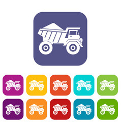 dump truck with sand icons set vector image