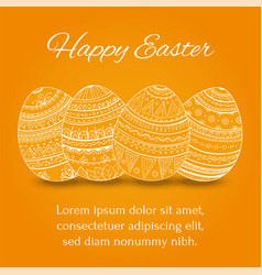 easter eggs set collection on orange background vector image