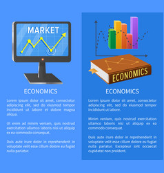 Economics market poster with screen showing arrow vector