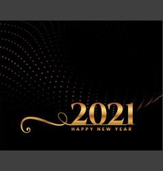 Elegant happy new year 2021 golden greeting card vector