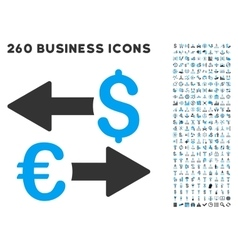 Euro Dollar Transactions Icon with Flat Set vector