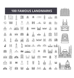 famous landmarks editable line icons 100 vector image