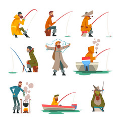 fisherman fishing with fishing rod and cooking vector image