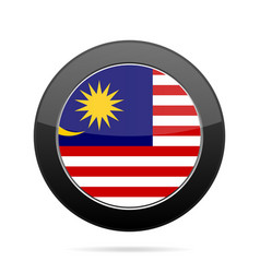 flag of malaysia shiny black round button vector image