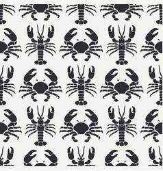 Flat line seamless pattern ocean fauna vector