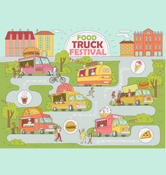 Food truck festival city map vector