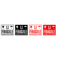 Fragile box handle with care logistics package vector