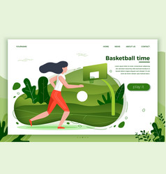 Girl playing basketball vector