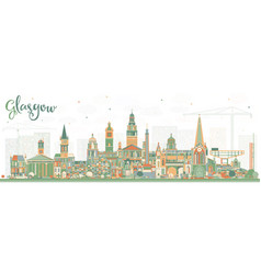 Glasgow scotland city skyline with color buildings vector