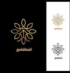 golden floral leaves logo design template sign vector image