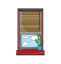 Grated window with curtain blind open and plant vector